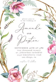 Woodland Flower Wreath - Wedding Invitation