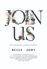 Floral Letters - Rehearsal Dinner Party Invitation