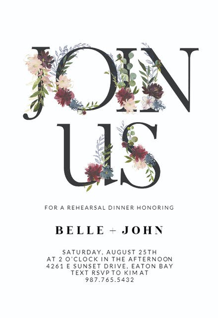 Floral Letters - Rehearsal Dinner Party Invitation Template (Free ...