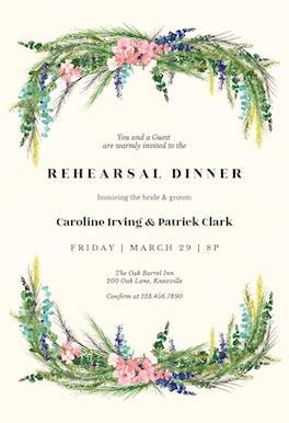 Floral pine - Invitación Para Cena De ensayo
