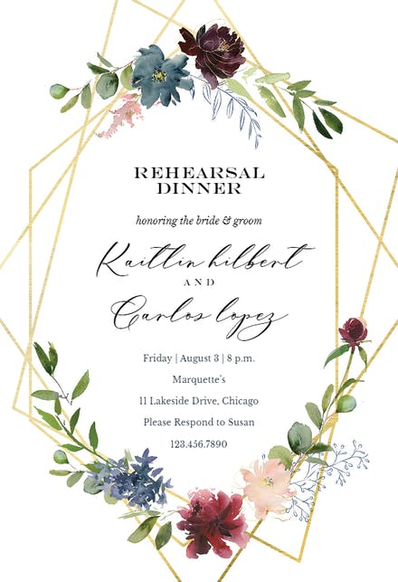 Geometric & Flowers - Rehearsal Dinner Party Invitation Template ...