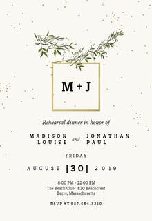 Rehearsal dinner invitation templates free greetings island olive leaves rehearsal dinner party invitation stopboris Choice Image