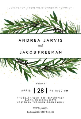 Winter Wreath - Rehearsal Dinner Party Invitation