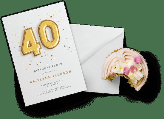 Invitaciones para el cumpleaños número 40