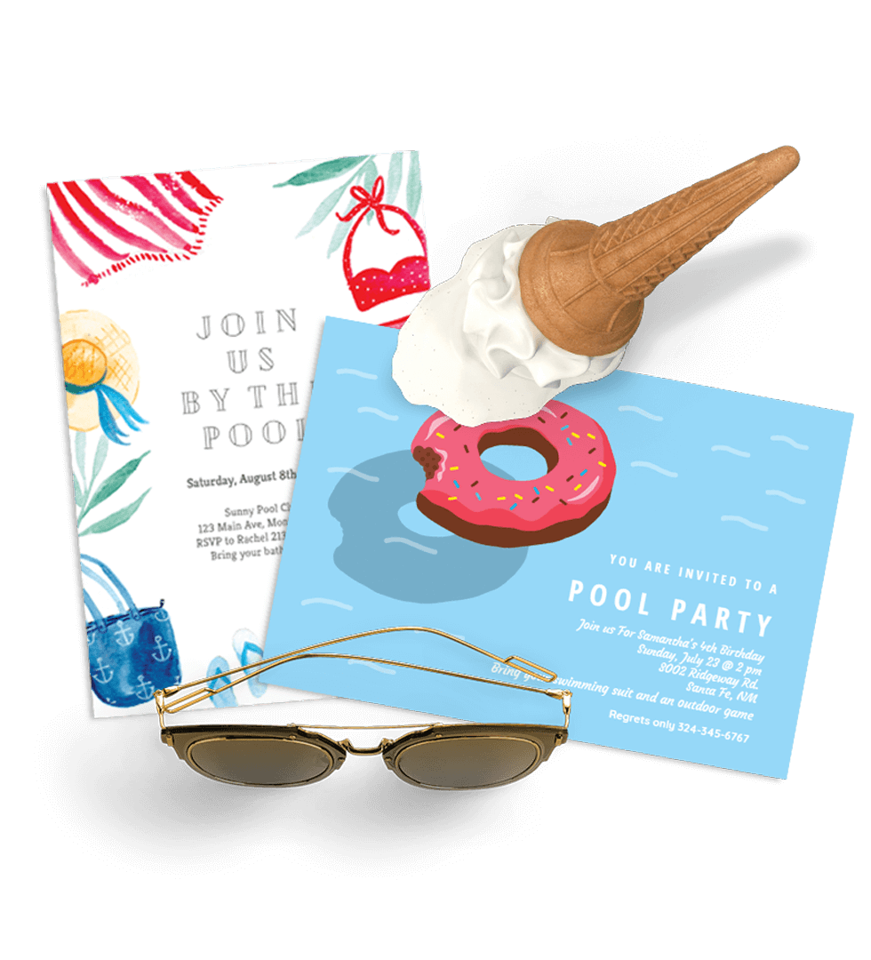 Charming Summer U0026 Pool Party Invitations